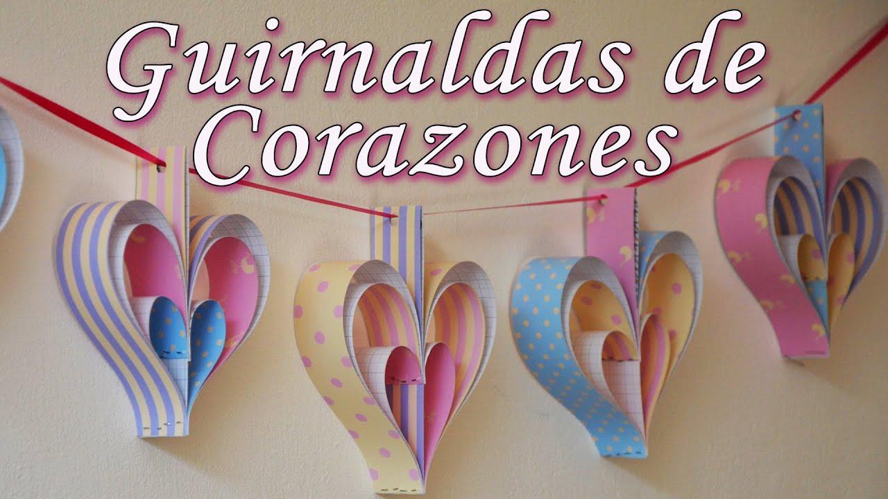 2 guirnaldas de corazones f ciles decoraci n de fiestas - Decoracion de guirnaldas ...