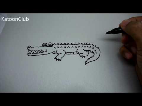 จระเข้ สอนวาดรูปการ์ตูนน่ารักง่ายๆ การ์ตูนระบายสี How to Draw a Crocodile Cartoon Step by Step Easy