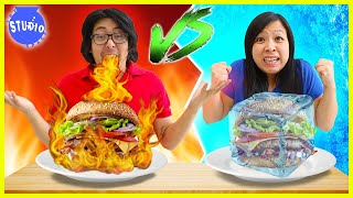Ryans Mommys Favorite FOOD CHALLENGES! Hot vs Cold and Healthy Vs Unhealthy