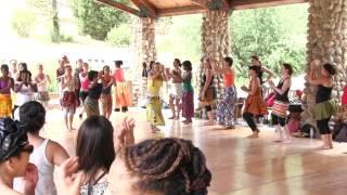 Mabiba teaches some steps during a dance class at Camp Fareta 2013