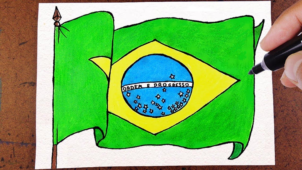 Como Desenhar A Bandeira Do Brasil Colorindo Desenho Lindo E
