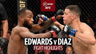 Crazy finish to five-round war!   Leon Edwards v Nate Diaz   UFC 263 Fight Highlights