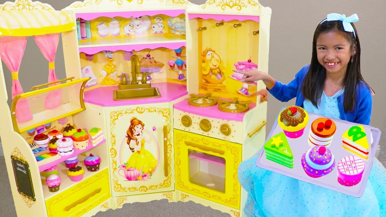 Wendy Pretend Play Baking Donuts Cupcake Toys With Disney Princess Belle Kitchen