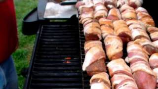 Grilled Cajun Bacon-wrapped Wild Turkey & Deer