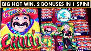 RARE 2 BONUSES in 1 SPIN! BIG WIN! *NEW* MORE MORE CHILLI SLOT MACHINE