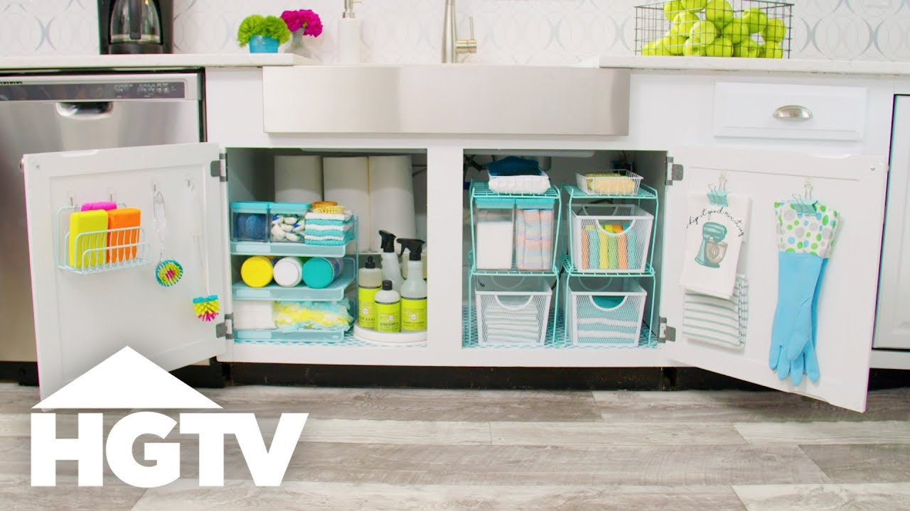 Organize Your Kitchen With Dollar Store Supplies - HGTV - YouTube on frugal kitchen storage ideas, small kitchen storage ideas, rustic kitchen storage ideas, kitchen countertop storage ideas,