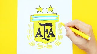How to draw and color Argentina National Football Team Logo