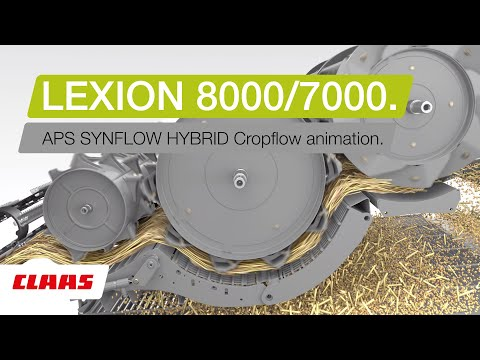 CLAAS LEXION 8000 / 7000. APS SYNFLOW HYBRID Cropflow Animation.