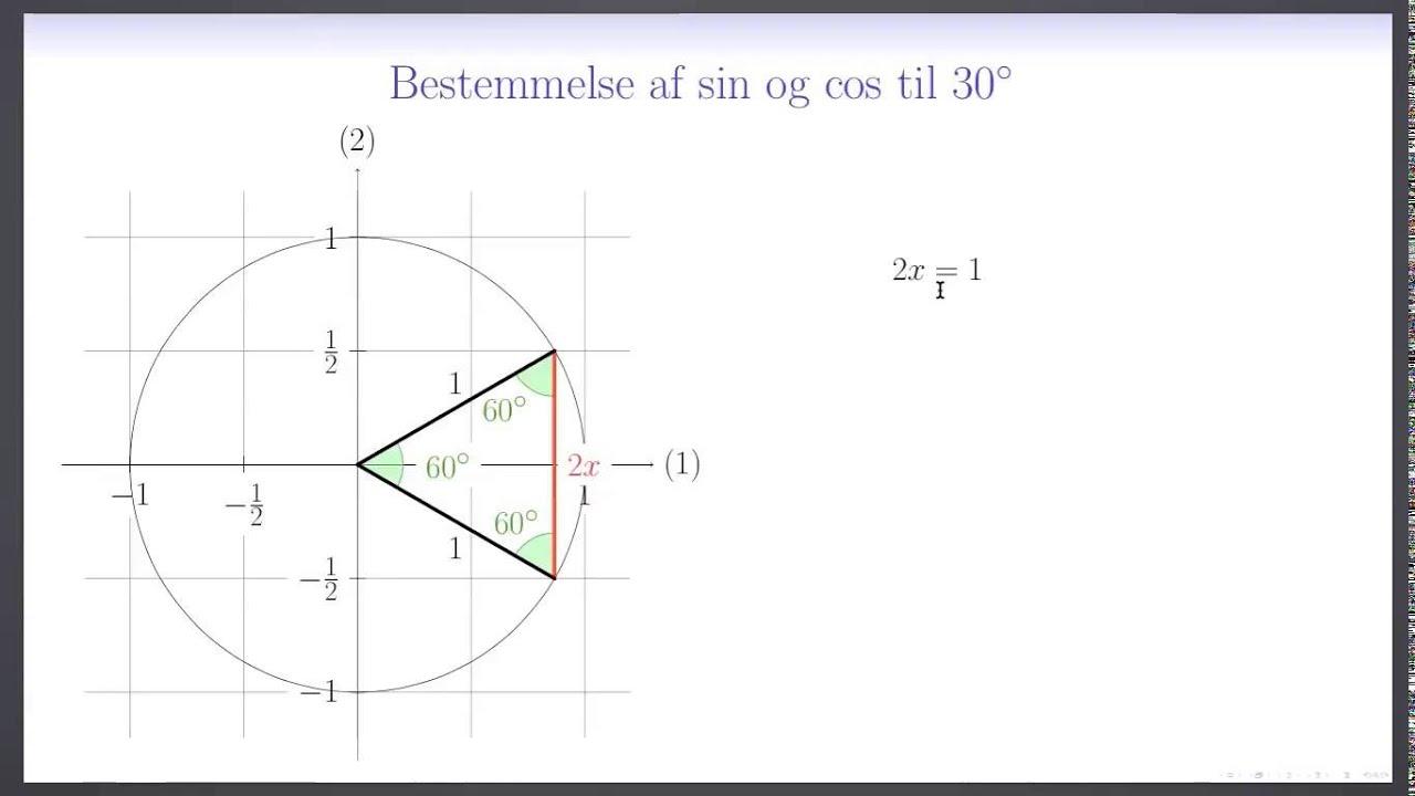 Trigonometri L9 - Eksakt bestemmelse af sin og cos til 30°