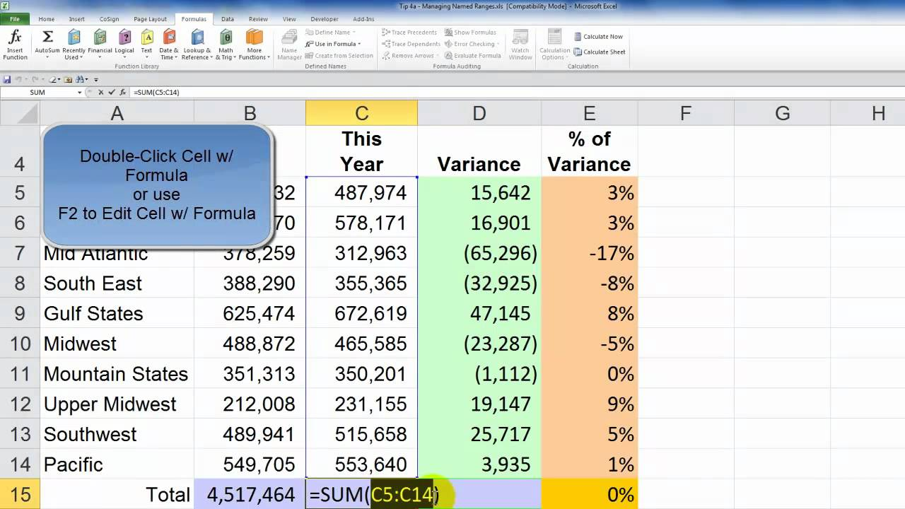 How to Apply Named Cell Ranges to Existing Excel Formulas - YouTube