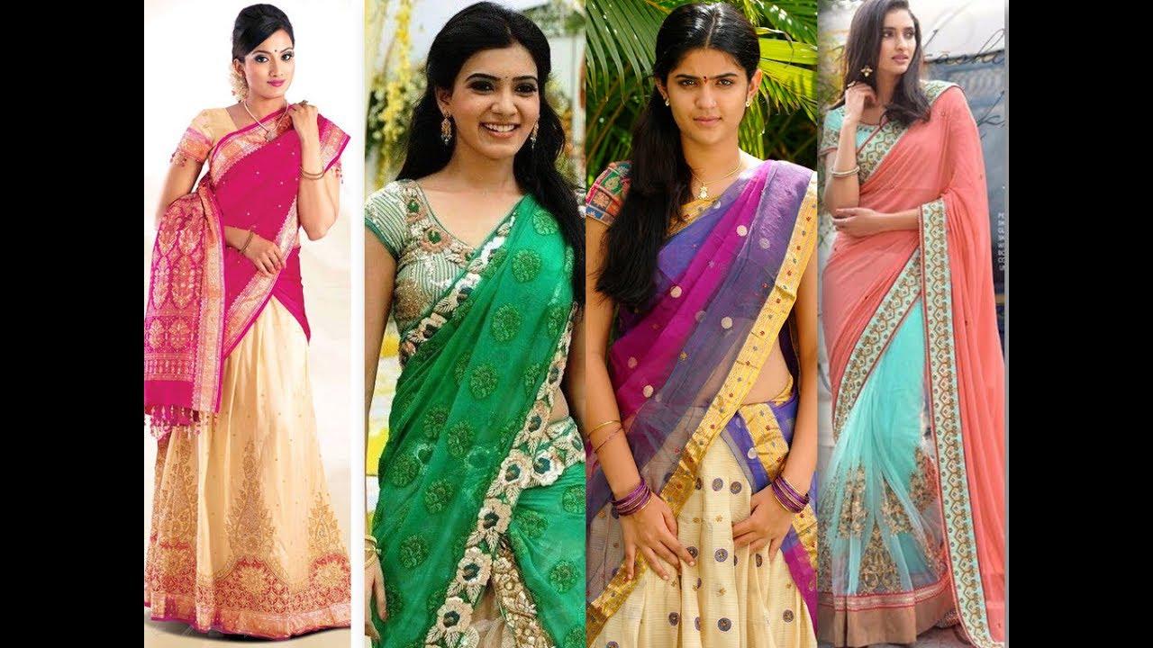 b54a829748 South Indian Half Saree - Dhavani - YouTube