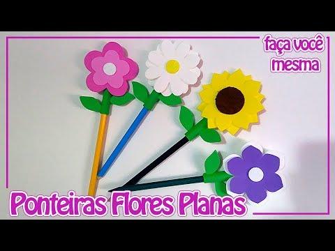 Como fazer Ponteira Flores Planas | Criatividades da Dê