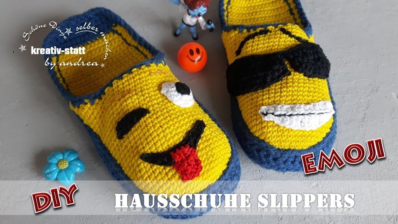 DIY Häkeln - EMOJI Smilies Hausschuhe Pantoffeln Filzsohle [Wie man ...