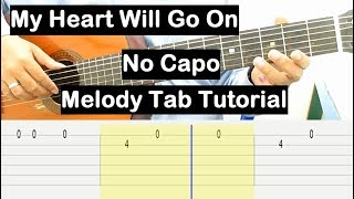 Celine Dion My Heart Will Go On Guitar Lesson Melody Tab Tutorial No Capo Guitar Lesson for Beginner