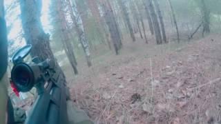 Охота на бобра с PCP пневматикой. Beaver Hunting With Air Rifle. (Момент выстрела/Shot moment)