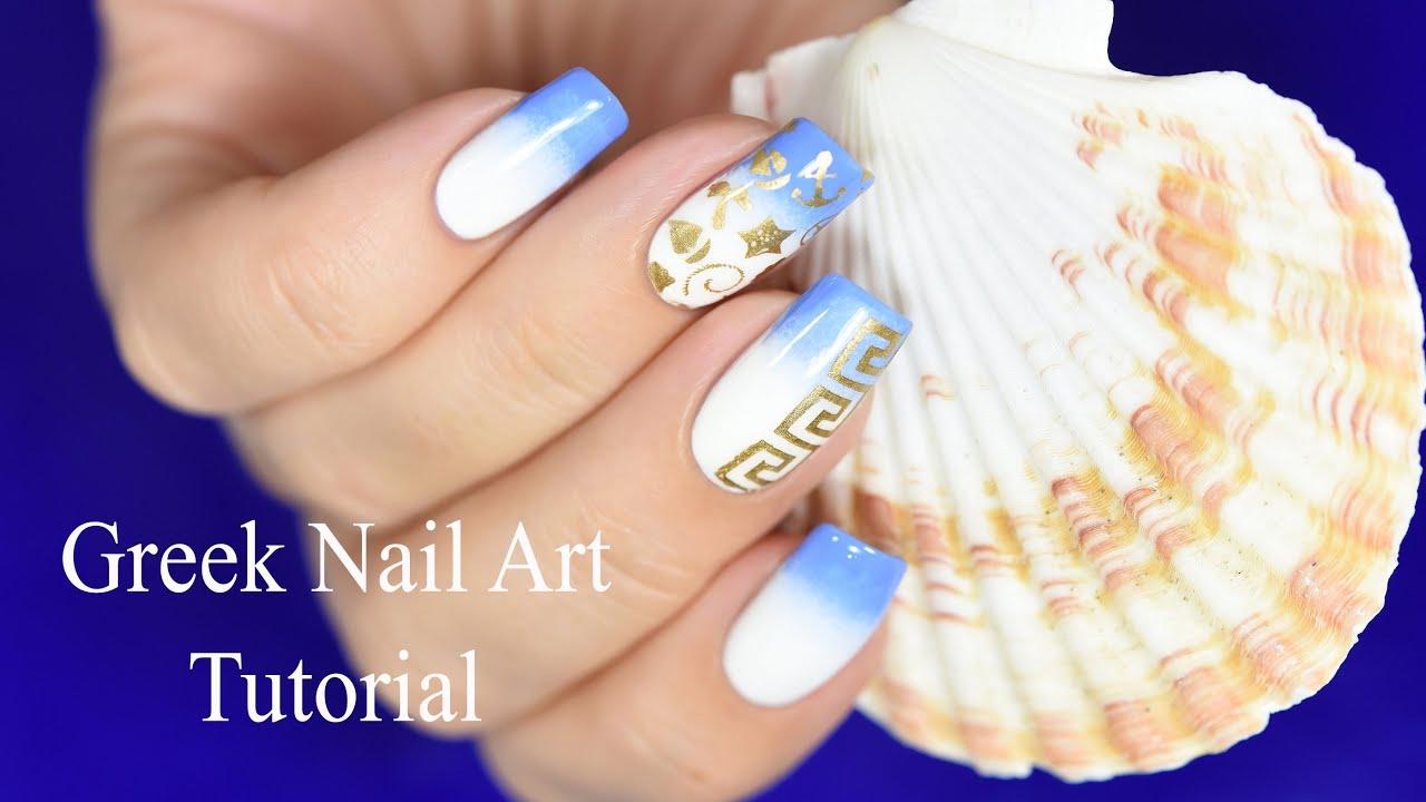 Greek Nail Art Tutorial Youtube