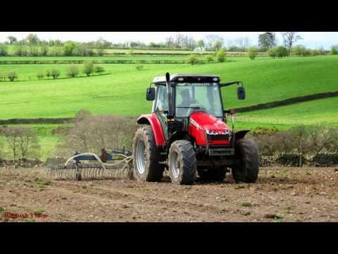 Massey Ferguson 5455 drilling Grass Seed.  -  Listen to the roar!