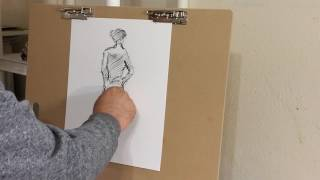 Figurative Drawing With A Charcoal, Sketch of a Nude Model by Artist JOSE TRUJILLO