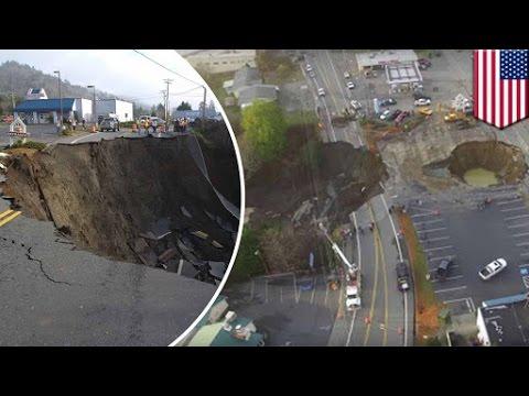 Natural disaster: Monster sinkhole destroys Oregon highway, causes closure - TomoNews