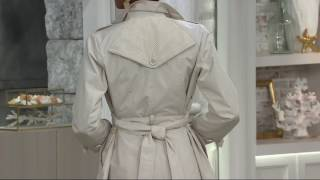 Susan Graver Water Resistant Button Front Trench Coat with Tie Belt on QVC