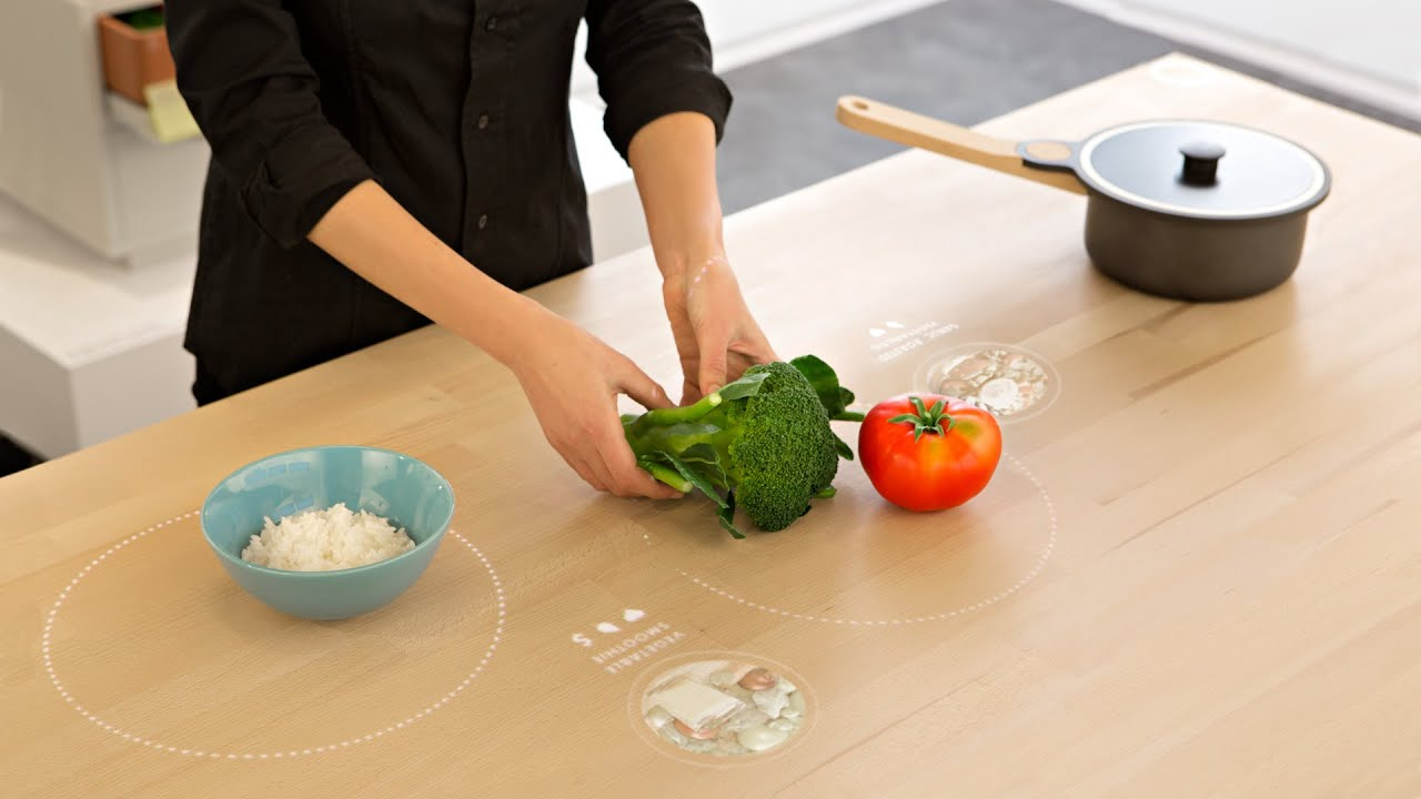 Kitchen Table With Food all-in-one digital table for ikea suggests recipes based on