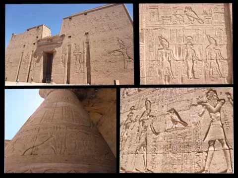 Egyptian carvings, drawings and statues