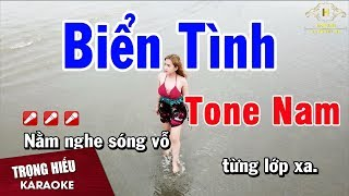 Karaoke Biển Tình Tone Nam Nhạc Sống | Trọng Hiếu