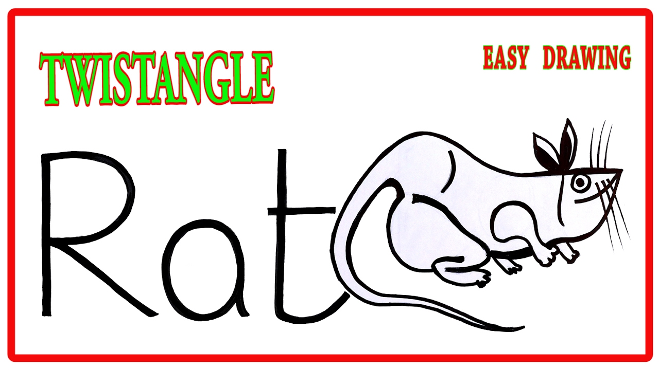 How to turn words RAT into Cartoon RAT-Easy drawing for ...