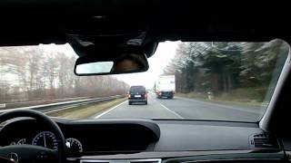 Driving fast on the Autobahn in a Mercedes S-Class (2)