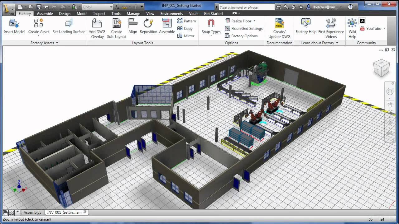 3d visual layout with factory design suite youtube for Machine shop layout software
