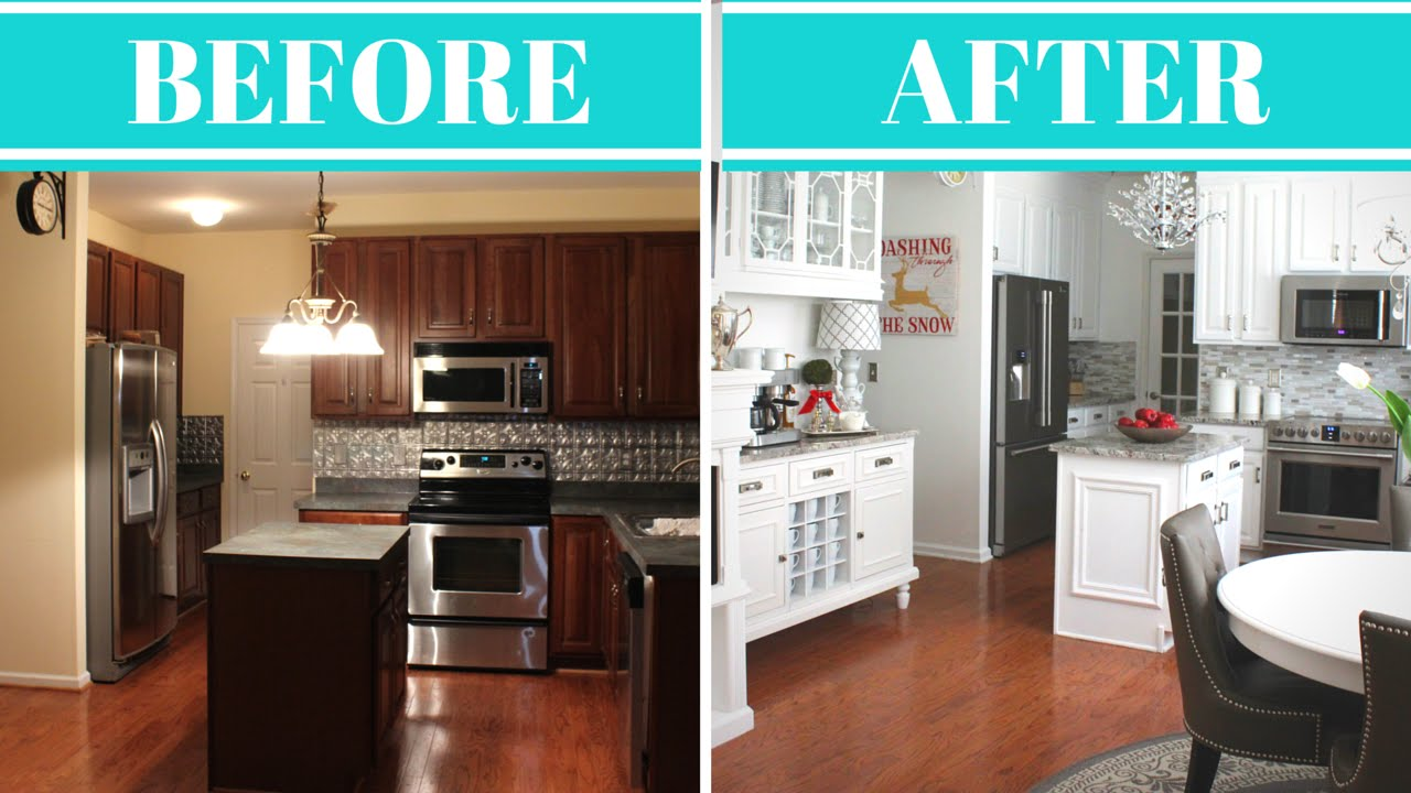 kitchen design photos before and after.  Kitchen Makeover Reveal Tour Before After YouTube