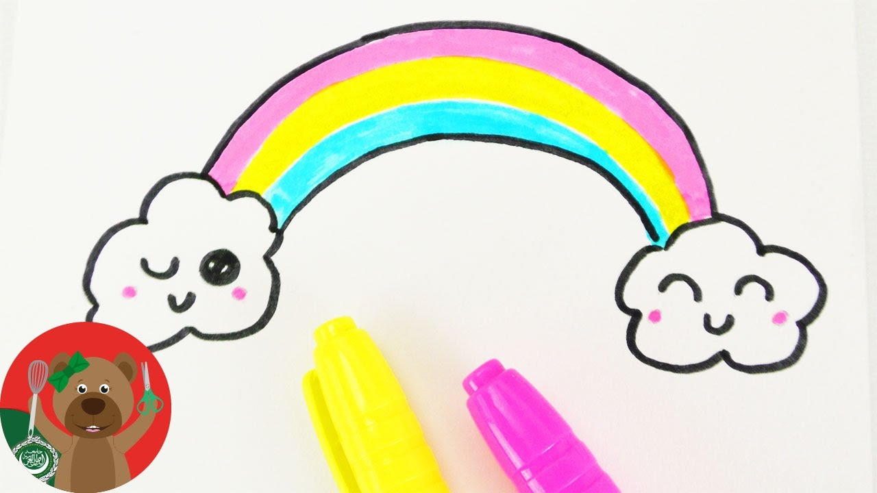 كيفية رسم قوس قزح و السحب الضاحكة تعلم الرسم بأشكال مبتكرة Youtube