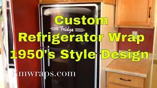 Custom Refrigerator Wrap Sticker - 1950's Style Design - Rmwraps.com