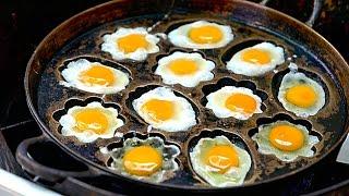 Bangkok Street Food - Fried Eggs and Pandan Cakes