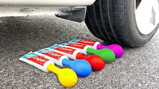 Experiment Car Vs Toothpaste and Balloons   Crushing crunchy & soft things by car   Test Ex