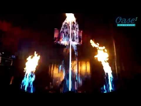 LED Waterfall Lighting: Fire & Water