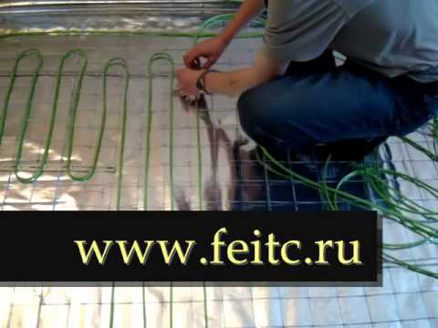 Монтаж нагревательного кабеля Spyheat в стяжку