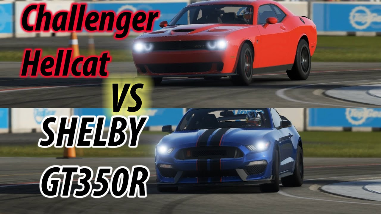 Dodge Charger Vs Mustang Vs Camaro >> 2016 Ford Mustang GT350 R vs Dodge Challenger Hellcat SRT8 on Top Gear Track - YouTube