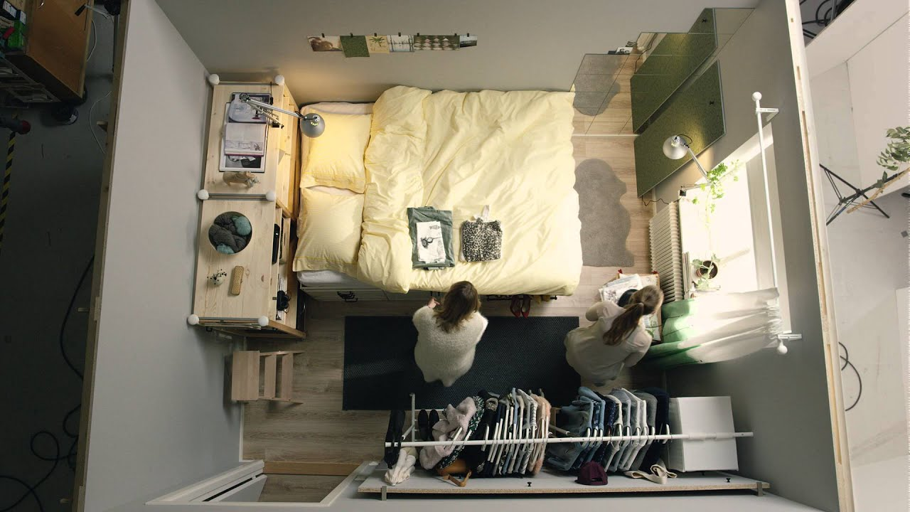 ikea square metre challenge part 1 tiny bedroom for two [ 1280 x 720 Pixel ]
