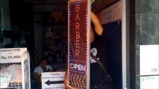 Tulisan Lampu Led Sign BARBER OPEN BOLAK BALIK - LIKE RUNNING TEXT
