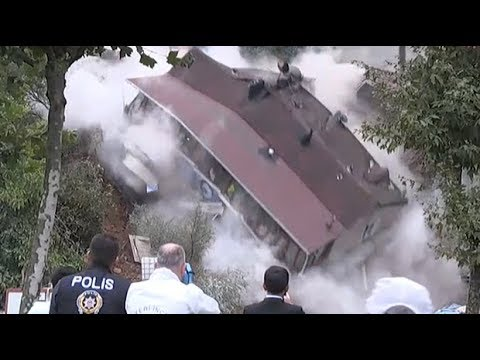 Four-storey building collapses in Istanbul after landslide