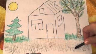 Рисуем домик. Уроки рисования для самых маленьких. Развивающие мультфильмы