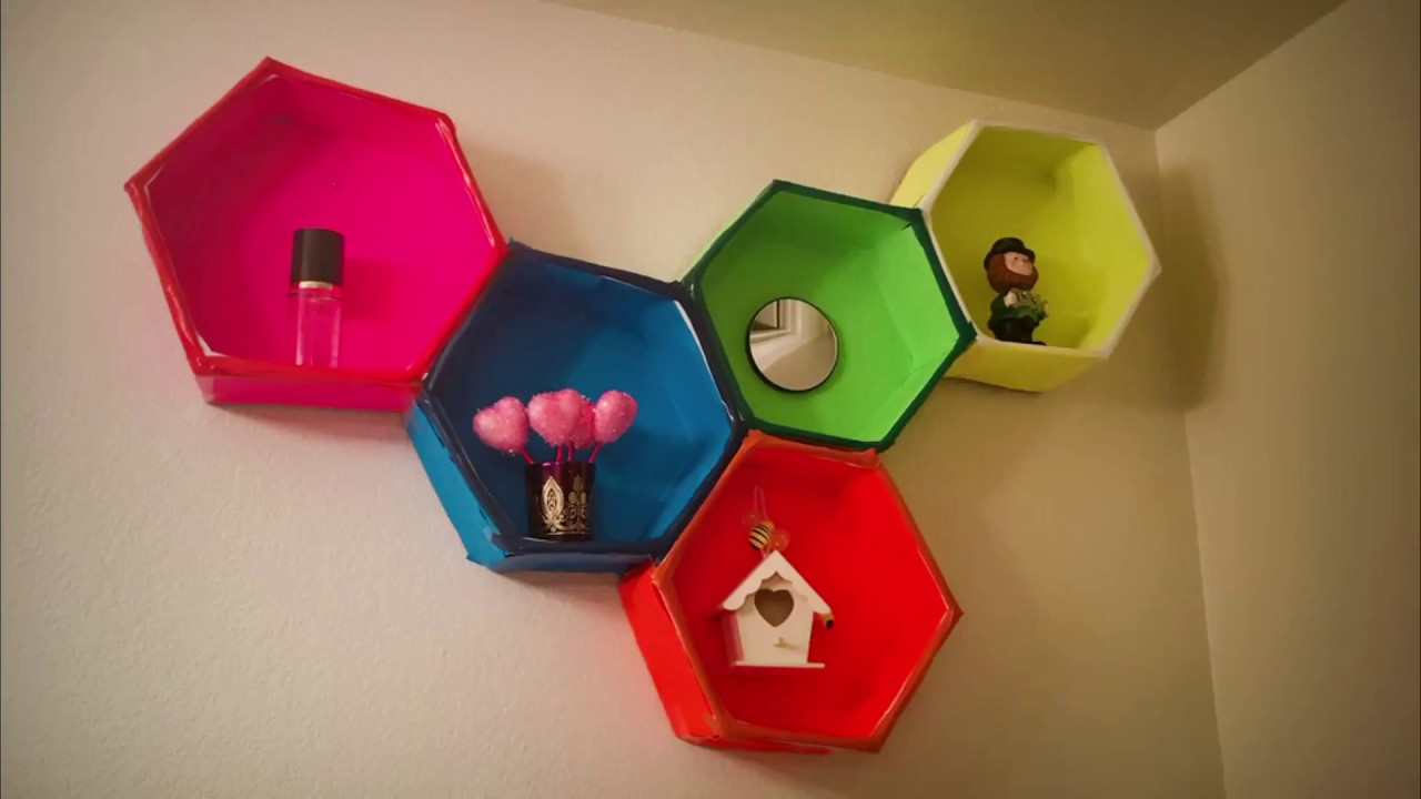 Diy cardboard hexagon floating shelves youtube for What can i make with boxes