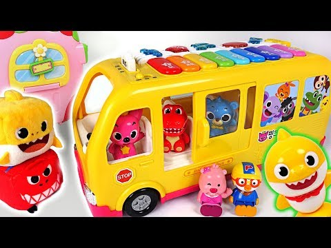 Let's go to kindergarten singing with Baby Shark~! Pinkfong Piano Bus departure! - PinkyPopTOY