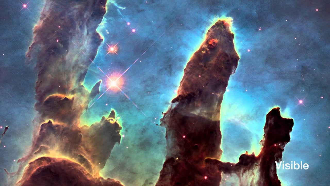 The pillars of creation fade from visible to infrared - Pillars of creation wallpaper ...