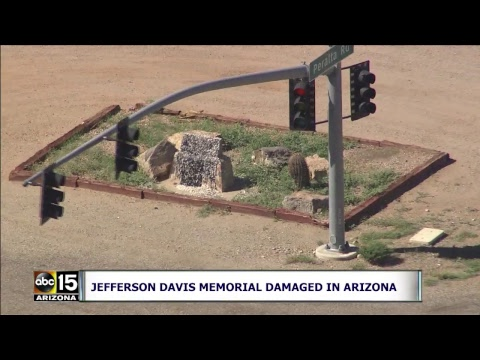 LIVE LOOK AT VANDALIZED Confederate Jefferson Davis Memorial Statue Damaged In Arizona