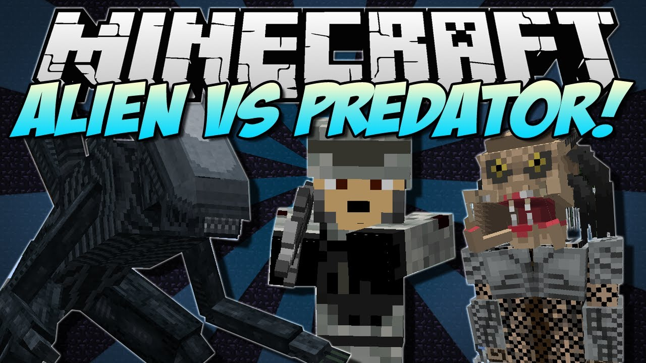 Minecraft Alien Vs Predator New Weapons Mobs And Buildings Mod Showcase 1 5 1 Youtube