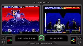 T2: The Arcade Game (Sega Genesis vs SNES) Side by Side Comparison