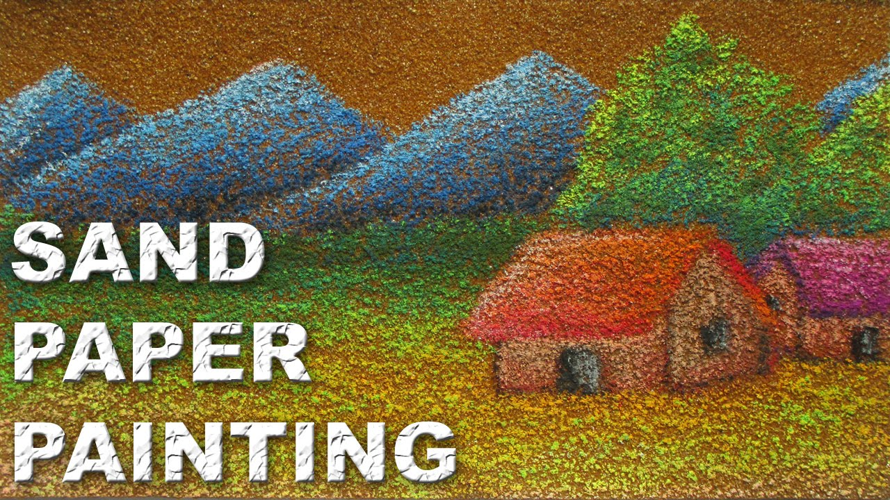How To Draw A Landscape On Sand Paper With Oil Pastels