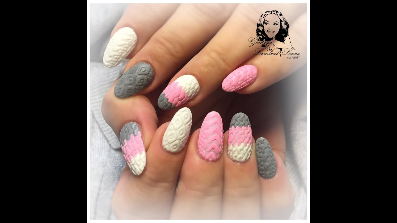 cable knit nail artgemma lambert - youtube
